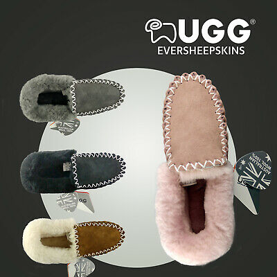 UGG Popo Unisex Moccasins/Slippers,Genuine Sheepskin Double Sole Non-Slip