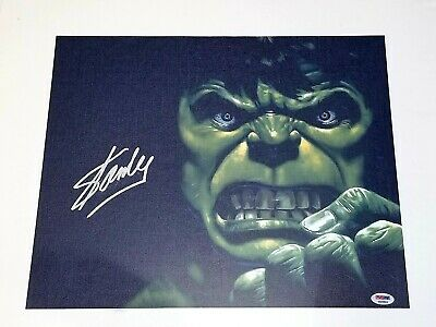 Stan Lee  Signed Marvel The Hulk 16X20 Screen print  Autographed PSA/DNA 2