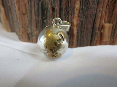 Taxco Mexico Sterling 925/Brass Earth Planet Chime Harmony Ball Pendant