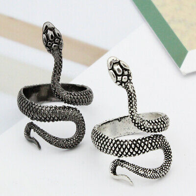 New Men Women Snake Shape Adjustable Opening Finger Ring Party Jewelry Gift Con