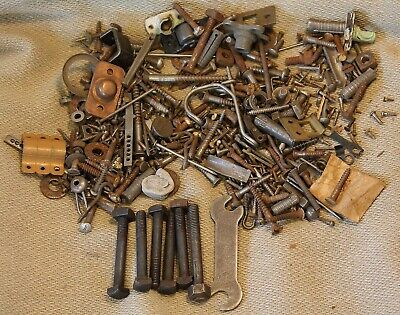 Vintage 5 Pound Mixed Lot Screws, Bolts Fittings Wrench