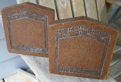 Antique Arts/Crafts Mission Era Oak Wood Bookends Hand Crafted UNIQUE! Rustic