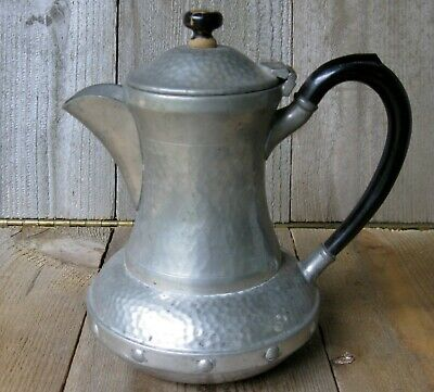 Antique Arts & Crafts Sheffield Craftsman Pewter Pitcher Hand Hammered Vintage
