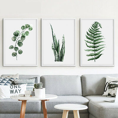 Frameless Plant Canvas Painting Print Green Leaf Wall Art Poster Home Decor
