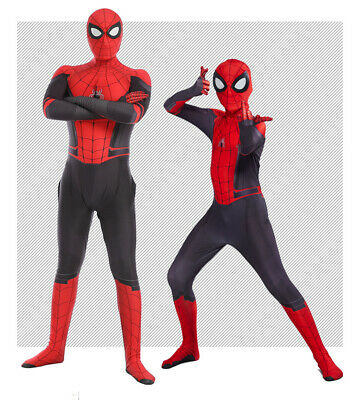 US! Spider-Man Far From Home Cosplay Costume Spiderman Zentai Suit For Kids