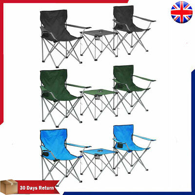 Camping Table and Chairs Set 3 Piece Hiking Portable Picnic Furniture 3 Colours