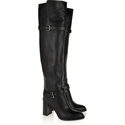 Womens Winter Casual Black Over Knee Thigh High Heels Boots Shoes Rubber Sole