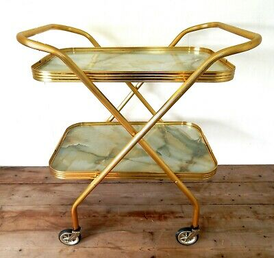 Vintage Retro Folding Gold Cocktail Drinks Tea Hostess Trolley Marble 50s 60s