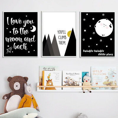 Nursery Cartoon Canvas Funny Poster Art Prints Baby Kids Bedroom Decoration
