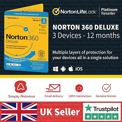 NEW Norton 360 Deluxe | 3 Devices | 1 Year + Secure VPN -  *5 Min Email Delivery