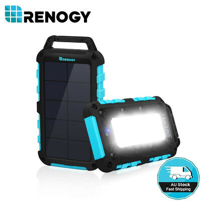 Renogy 10000mAh Solar Power Bank Dual USB Phone Charger Camping Hiking LED light
