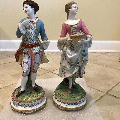 Pair of Antique Chantilly Lady & Gentleman Couple French Bisque Figurines