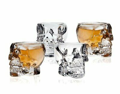 Skull Head 3D Clear Crystal 2 Oz Whiskey Vodka Shot Glasses Shooters Set of 4
