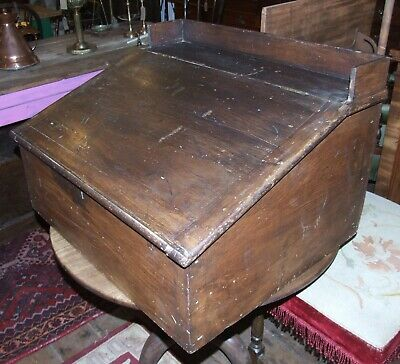 Antique stained pine clerks writing slope desk pigeon hole interior