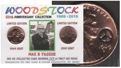 1969 Lincoln Cent WOODSTOCK 50 Max Yasgur Keepsake Collector Coin Card # WS-032