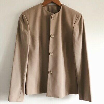 Emanuel Ungaro Couture Tan Pure Wool Jacket Blazer Size 2 MSRP $525