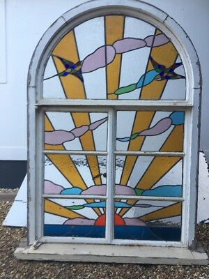 LARGE STAINED GLASS WINDOW PANEL ARCHITECTURAL ANTIQUE PERIOD ART DECO 20s 30s