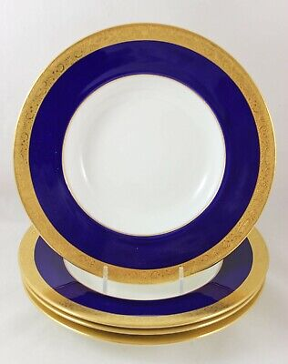 Fab Antique Minton English Set 4 Rim Soup Bowls Gold Encrusted Cobalt Blue H3046