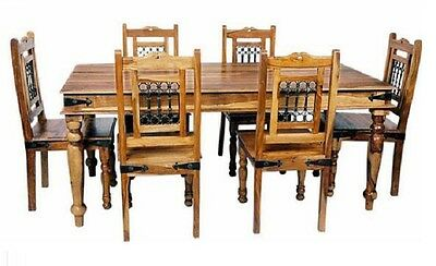 Indian Jali 170cm Dining Table & 6 Chairs Solid Sheesham by Mercers Furniture®