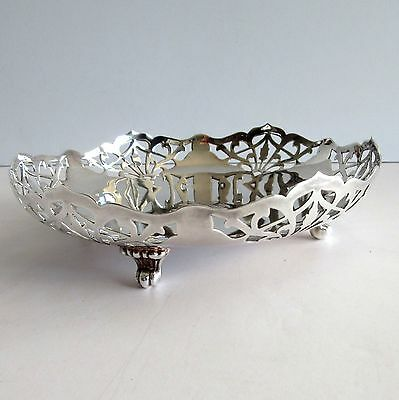 Barbour Silverplate Pierced Footed Bowl  with Monogram DBH  7 inch