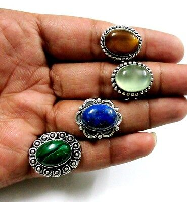 Real! Top AAA Prehnite,Lapis,Tiger Eye,Malachite 925 Silver Plated 4 Pcs Ring