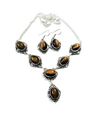 Beauteous! Natural AAA Tiger Eye Gemstone Silver Plated Necklace Earring Set