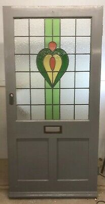 Wide Victorian Stained Glass Front Door Period Old Reclaimed Antique Wood Leaded