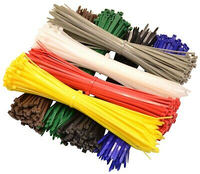 Packs of 100 to 500 Heavy Duty Nylon Coloured Cable Ties Various Sizes