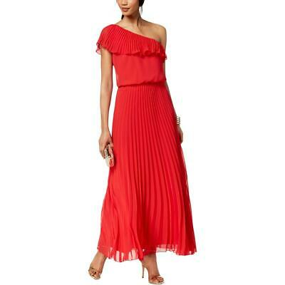 2c91f25cab60 Xscape Womens Red Pleated Chiffon One-Shoulder Evening Dress Gown 4 BHFO  0733