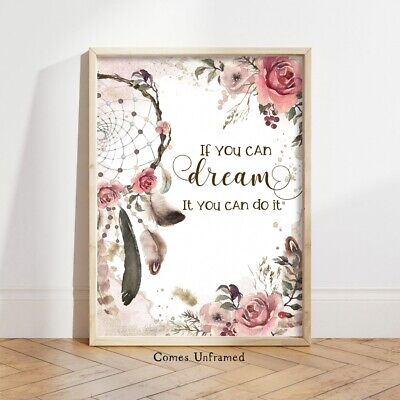 Boho Dream Catcher Wall Art Print Dream Quote Nursery Picture Feathers Girls