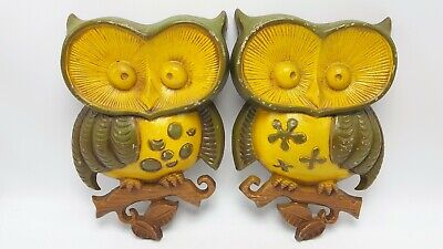 Lot of 2 Mid Century Modern MCM 1970 Sexton Owls Retro Metal Wall Hangers