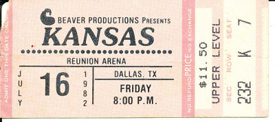 KANSAS Beaver Productions CONCERT TICKET STUB Reunion Arena JULY 16 1982 Dallas