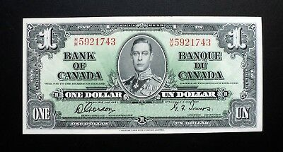 1937 BANK OF CANADA $1 Dollar  **Gordon & Towers**   M/M 5921743  BC-21c