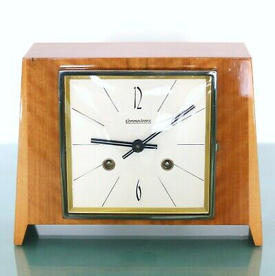 HERMLE Mantel Clock 1965 ICONIC! CUBISM! Design HIGH GLOSS! Vintage CHIME German