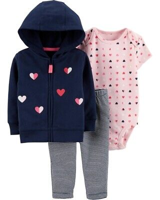 5060f54b9 Carter's Infant Girls 3-Piece Jacket Set Pink & Navy w/ Hearts NWT outfit