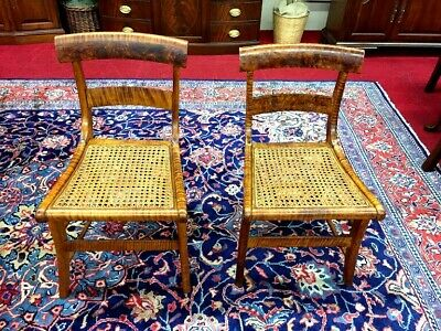 Antique Tiger Maple Chairs - Cane Bottom Chairs - Delivery Available
