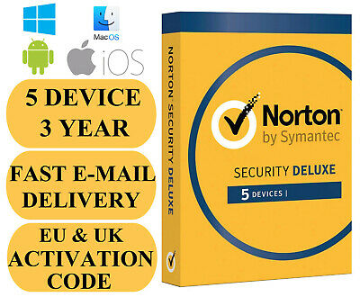 Norton Internet Security Deluxe 5 Device / 3 Year EU REGION Key 2020 EMAIL ONLY