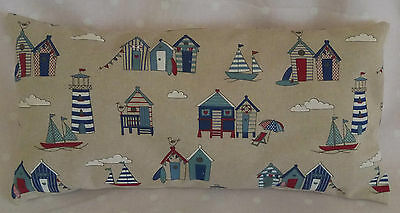 "Beach Hut Nautical, Sea side 10""x 20"" with a cream backing Cushion Covers"
