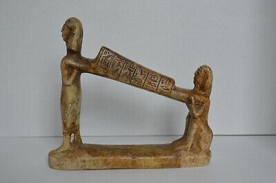 EGYPTIAN ANTIQUE Hand Carved From Stone Funeral Egyptians Carrying Sarcophagus