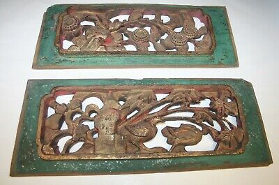 Lot of 2 Antique Chinese Painted & Gold Gilt Wood Relief Carving Cabinet Panels
