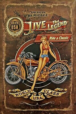 Live the Legend Motorcycle Pinup Girl 4x6 Fridge MAGNET Man Cave SIGN Tool BOX