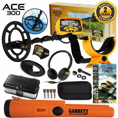 Garrett ACE 300 Metal Detector Anniversary Special w/ Pinpointer, Box, and Book