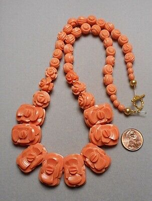 Old Art Deco Necklace - Faux Coral Celluloid or Plastic Floral Beads - Restrung