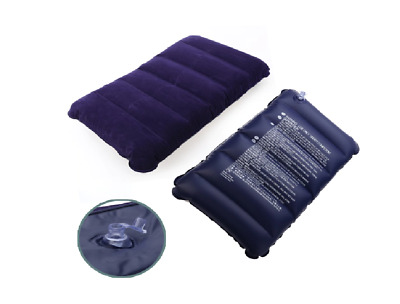 Travel Air Cushion Rest Pillow Dark Blue Inflatable Bed Protect Head Neck