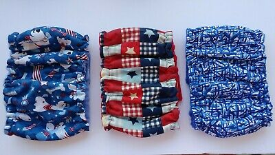 3 pk Male MEDIUM Dog Diapers Red White Blue Washable Reusable Belly Band Elastic