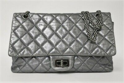 b1b0e16327a816 Chanel 2.55 Reissue Jumbo Flap Bag 227 Dark Silver Metallic Quilted Leather