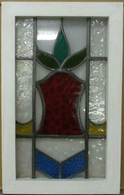 "OLD ENGLISH LEADED STAINED GLASS WINDOW Pretty Abstract Design 13.25"" x 20.75"""