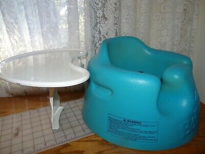 Bumbo Floor Seat with Tray Safety Belt Straps Installed Blue