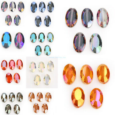 Charms Flat Oval Faceted Glass Crystal Beads Loose Spacer Bead Findings 22x13mm