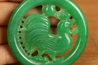 natural jadeite jade collectable hand carving cock statue figure netsuke